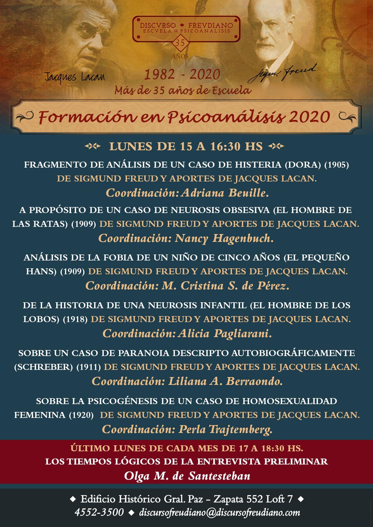 Formación en psicoanálisis 2020